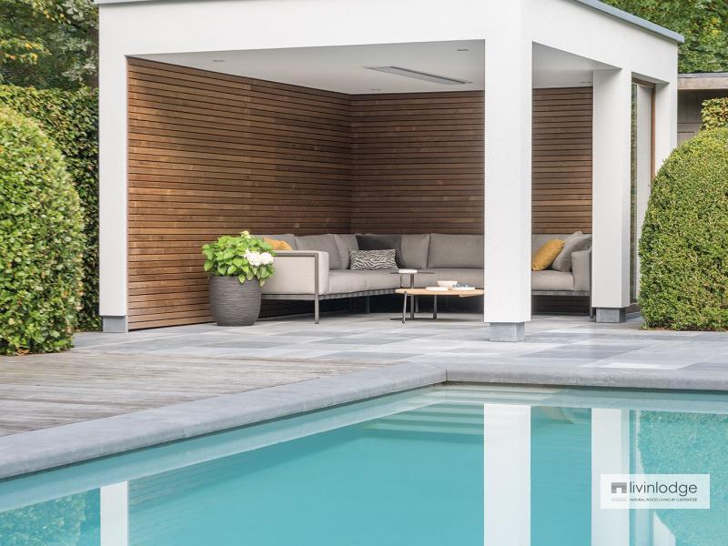 Moderne houten poolhouse met terrasoverkapping Zoersel | Houten bijgebouwen op maat