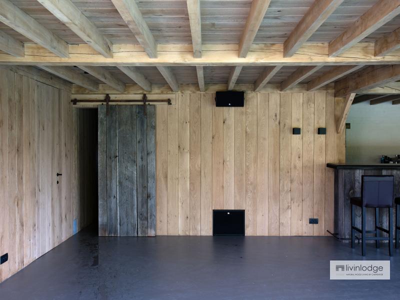 Exclusieve eiken poolhouse met verdieping te Ronse | Houten bijgebouwen op maat