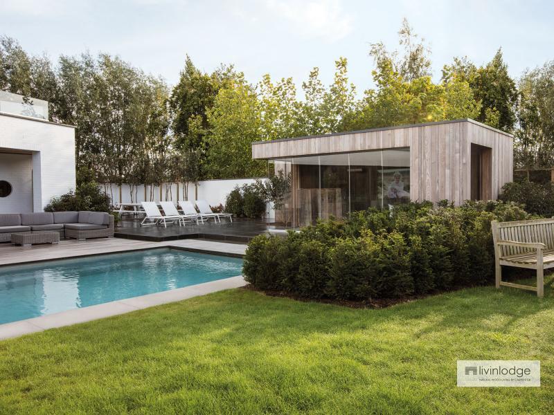 Moderne poolhouse in HOTwood essen te Zwijnaarde   Houten bijgebouwen te koop