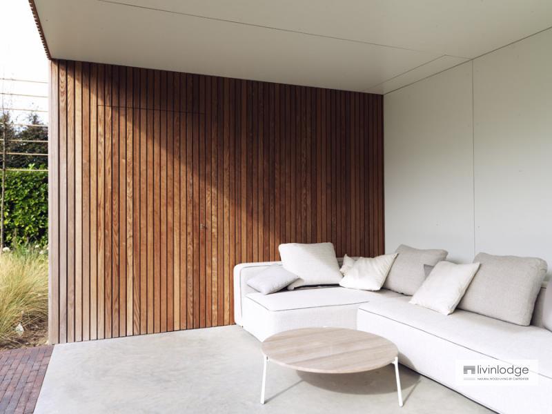 Moderne tuinberging annex loungeruimte te Roeselare   Houten bijgebouwen op maat