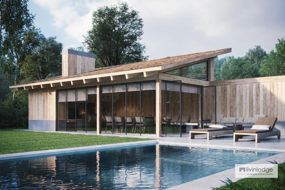 Pool house en chêne d'inspiration moderne, Meulebeke