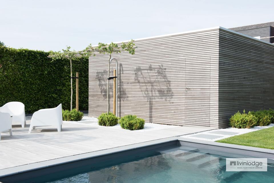 Pool house minimaliste avec abri de jardin à Merchtem