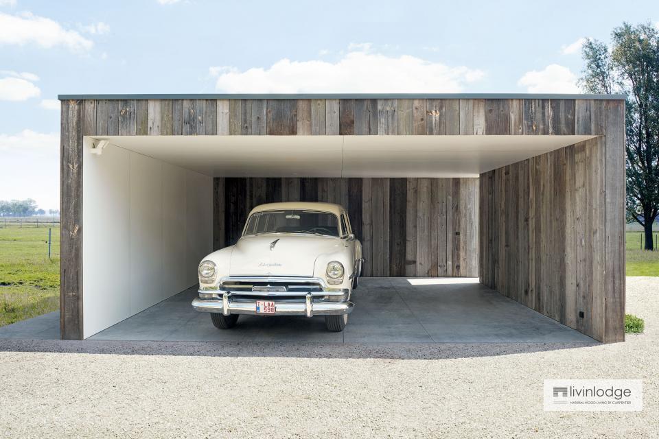 Carport double en bois avec remise et terrasse couverte à Olsene