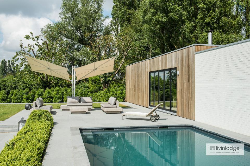 Moderne poolhouse annex hobbyruimte te Tielt