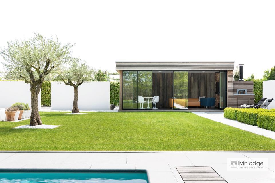 Studio de jardin moderne avec four à bois extérieur à Bruxelles