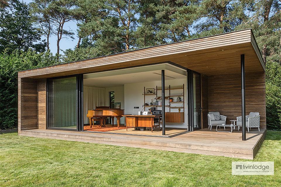 Bureau de jardin contemporain avec terrasse couverte à Bonheiden